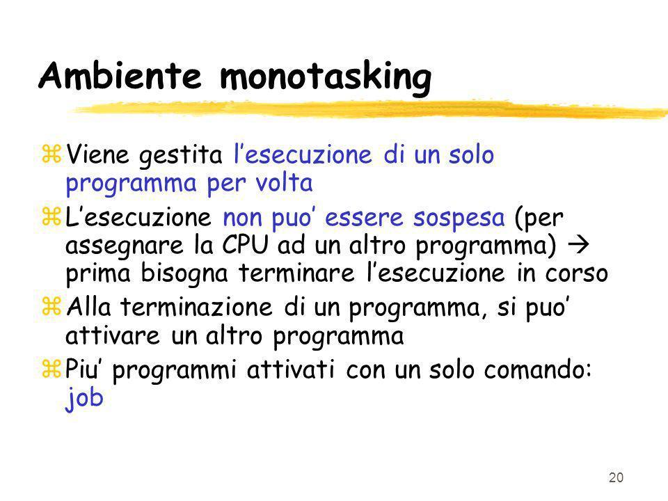 Ambiente monotasking Viene gestita l'esecuzione di un solo programma per volta.