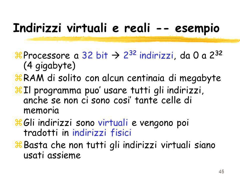 Indirizzi virtuali e reali -- esempio
