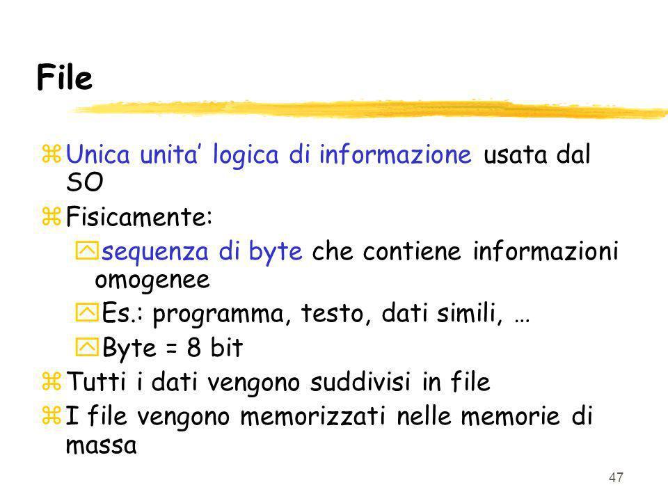 File Unica unita' logica di informazione usata dal SO Fisicamente: