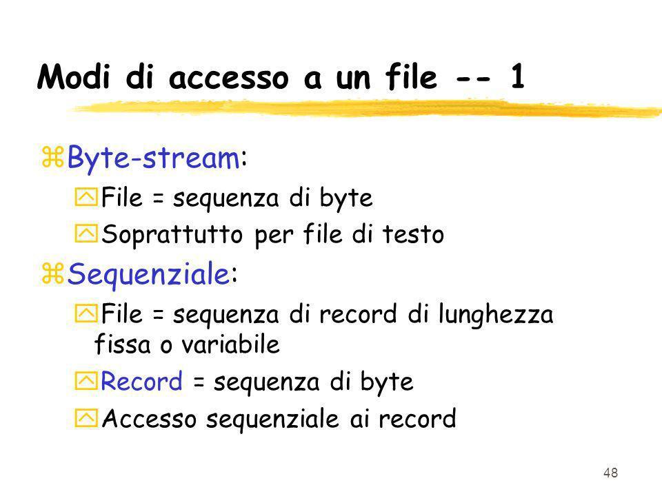 Modi di accesso a un file -- 1
