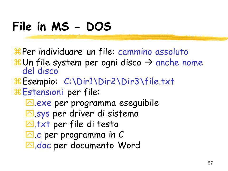 File in MS - DOS Per individuare un file: cammino assoluto