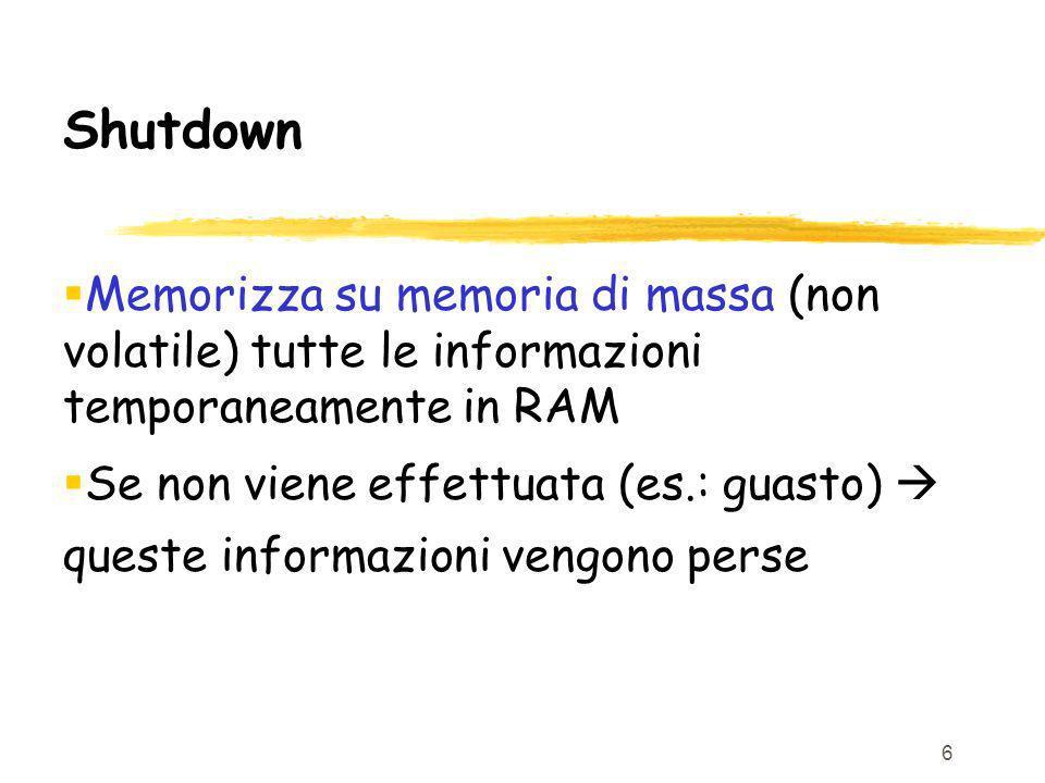 Shutdown Memorizza su memoria di massa (non volatile) tutte le informazioni temporaneamente in RAM.