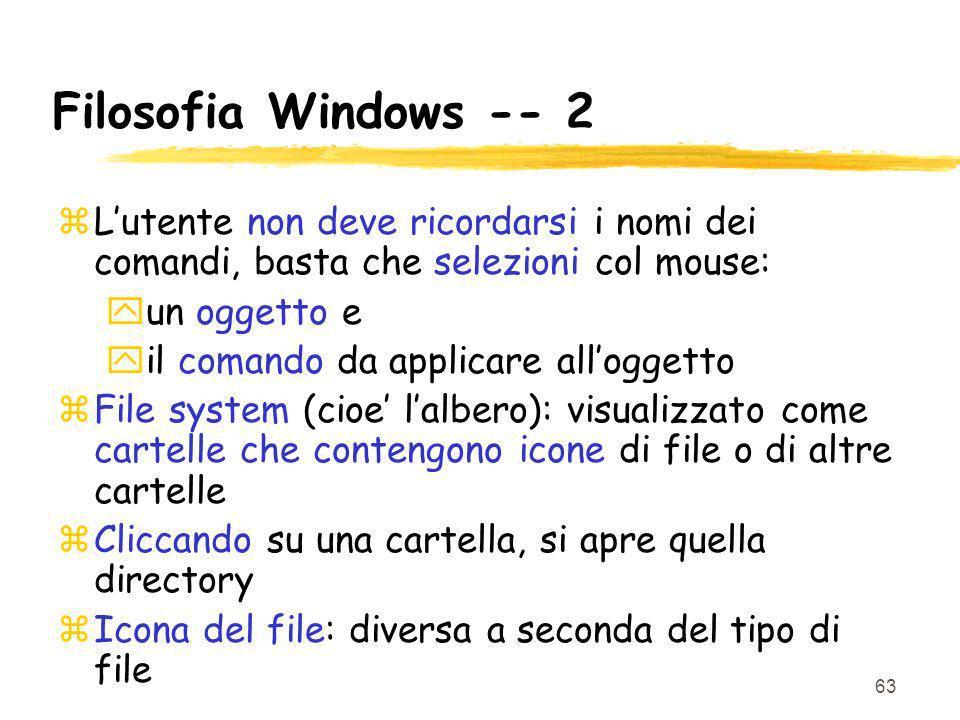 Filosofia Windows -- 2 L'utente non deve ricordarsi i nomi dei comandi, basta che selezioni col mouse: