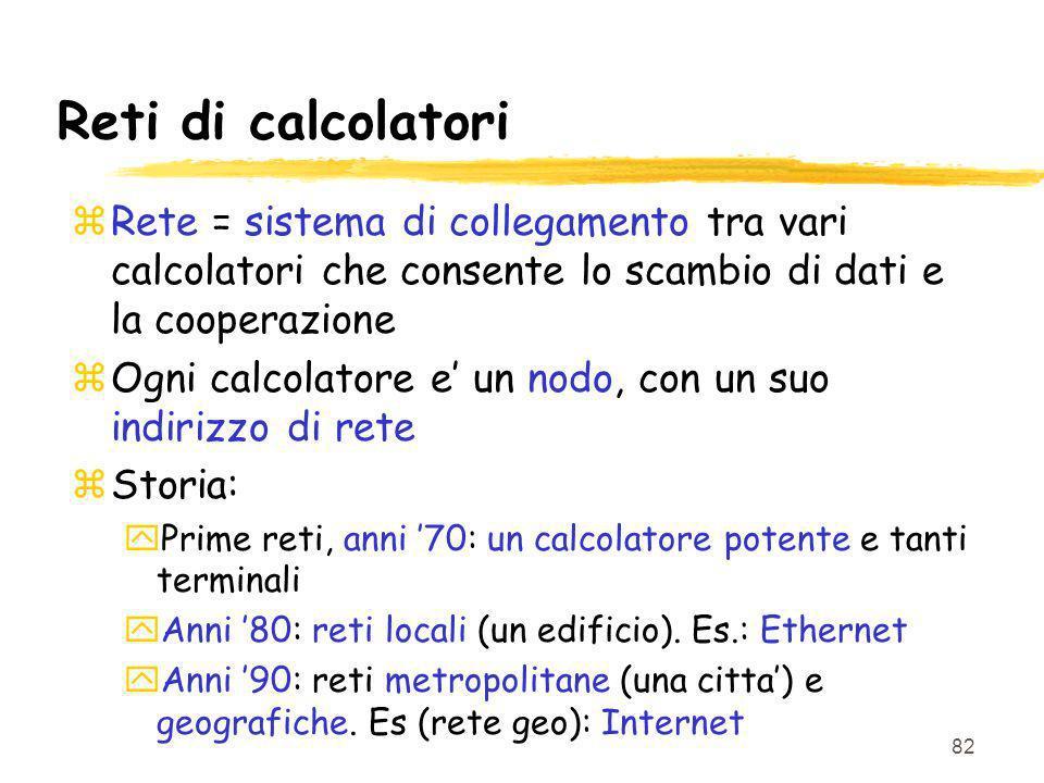 Reti di calcolatori Rete = sistema di collegamento tra vari calcolatori che consente lo scambio di dati e la cooperazione.