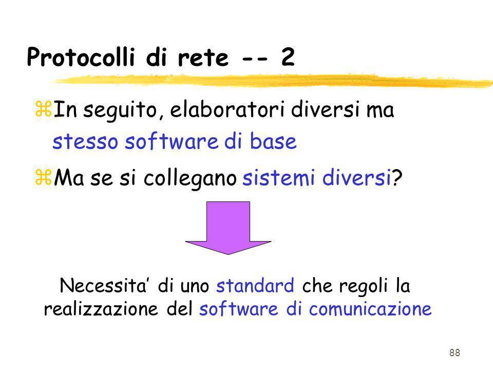 Protocolli di rete -- 2 In seguito, elaboratori diversi ma stesso software di base. Ma se si collegano sistemi diversi