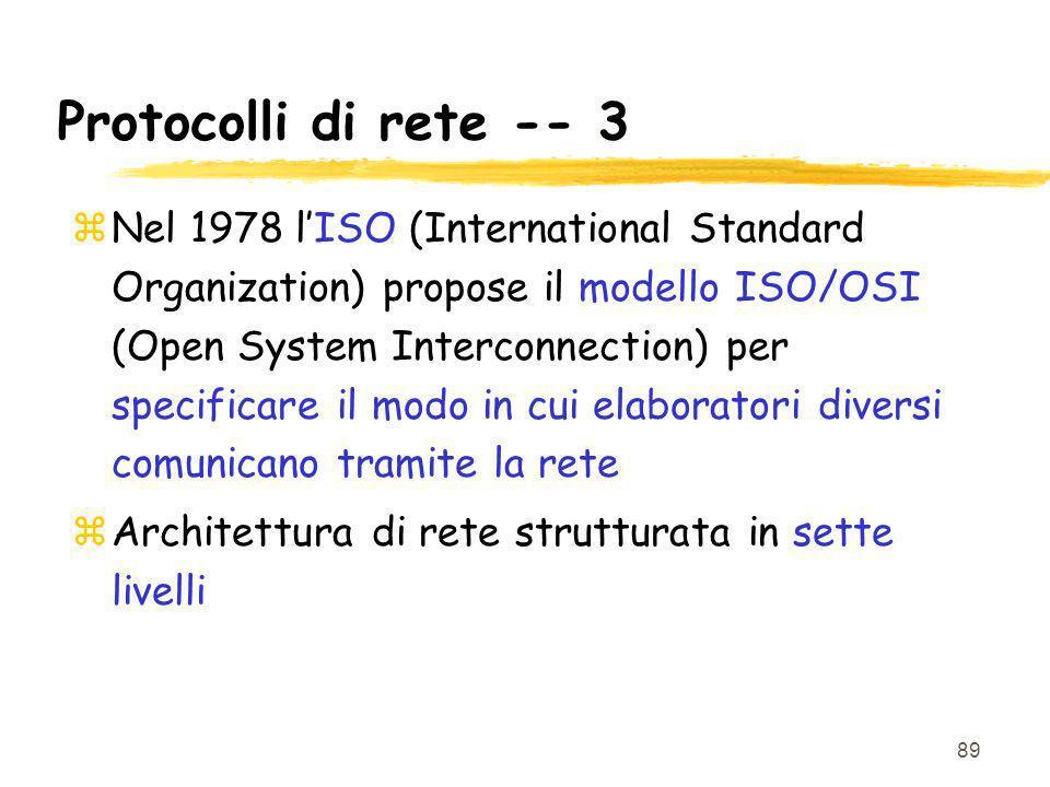 Protocolli di rete -- 3