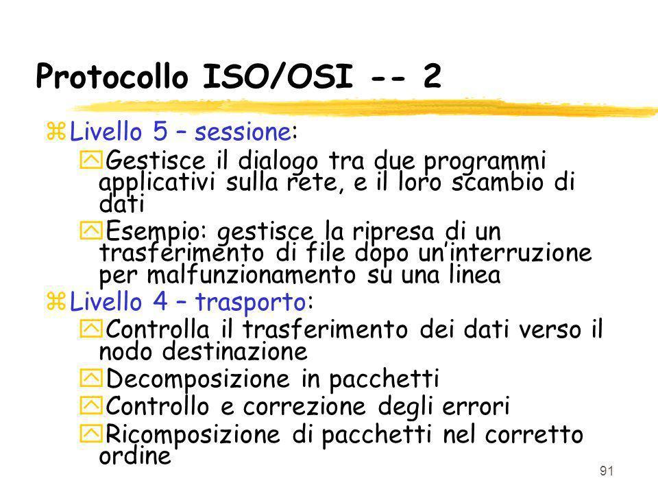 Protocollo ISO/OSI -- 2 Livello 5 – sessione: