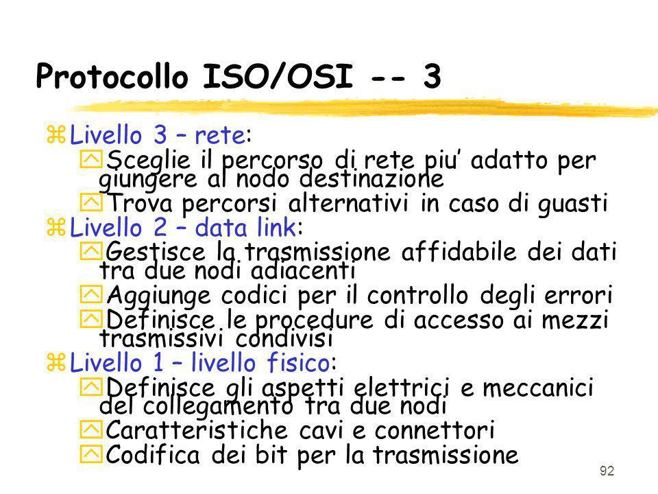 Protocollo ISO/OSI -- 3 Livello 3 – rete:
