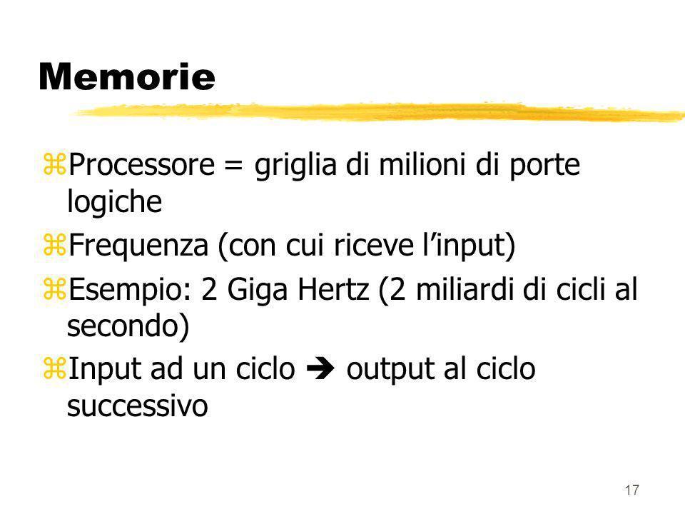 Memorie Processore = griglia di milioni di porte logiche