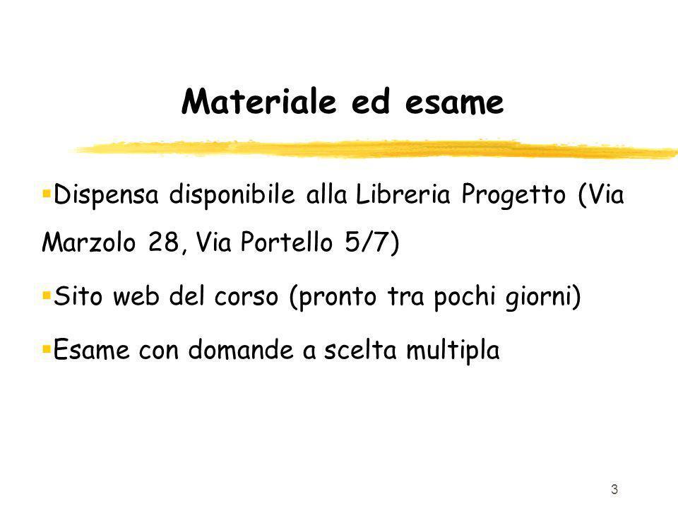 Materiale ed esame Dispensa disponibile alla Libreria Progetto (Via Marzolo 28, Via Portello 5/7) Sito web del corso (pronto tra pochi giorni)