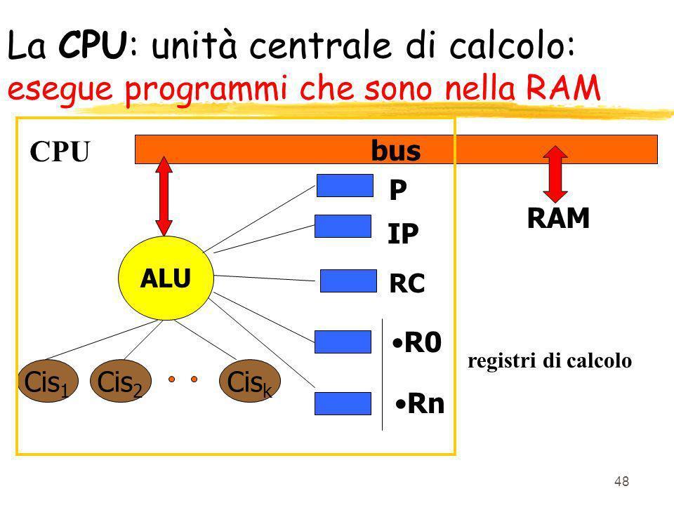 La CPU: unità centrale di calcolo: esegue programmi che sono nella RAM