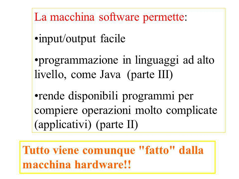 La macchina software permette: