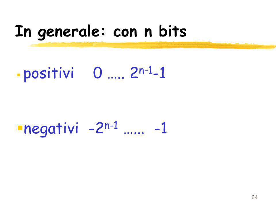 In generale: con n bits positivi 0 ….. 2n-1-1 negativi -2n-1 …... -1