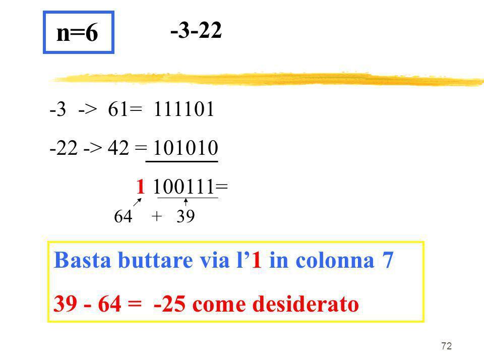 n=6 -3-22 Basta buttare via l'1 in colonna 7