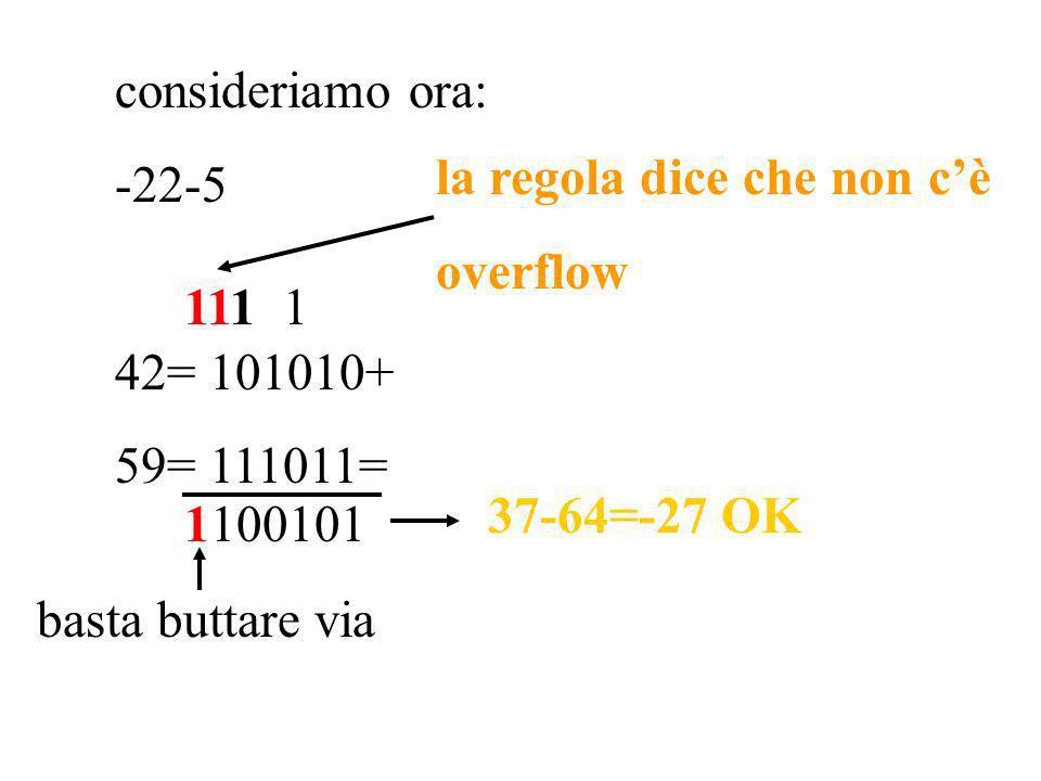 consideriamo ora: -22-5. 42= 101010+ 59= 111011= la regola dice che non c'è. overflow. 111 1.