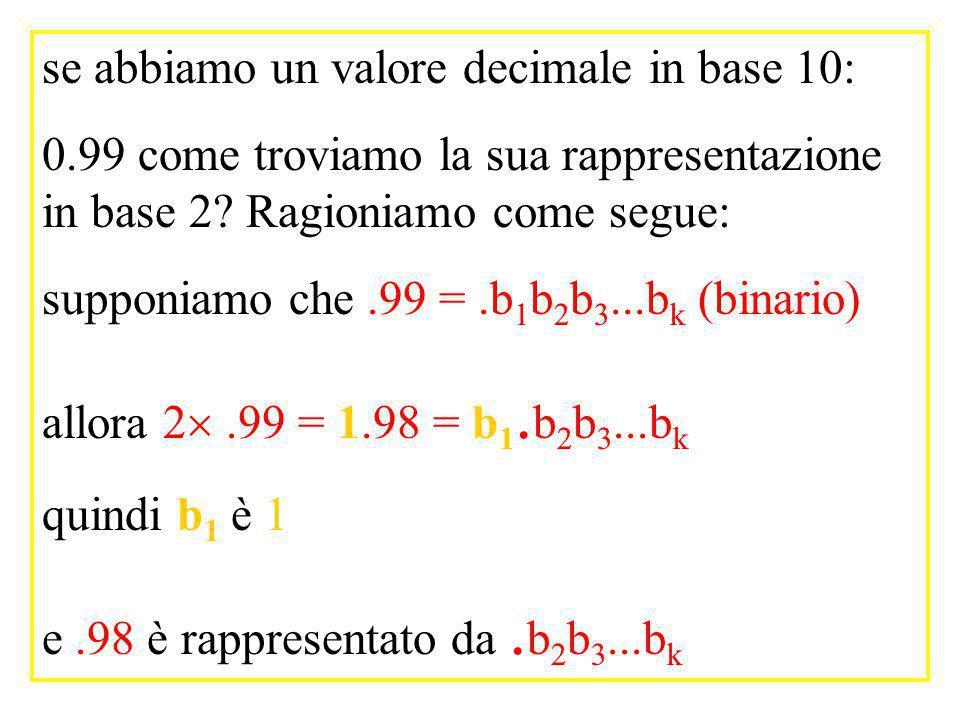 se abbiamo un valore decimale in base 10: