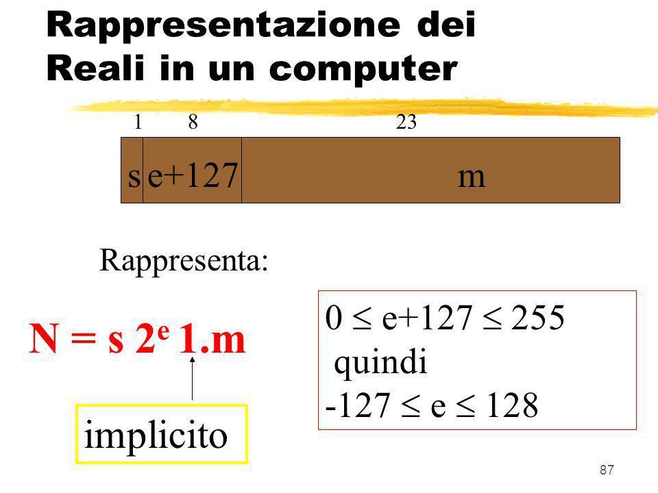 Rappresentazione dei Reali in un computer