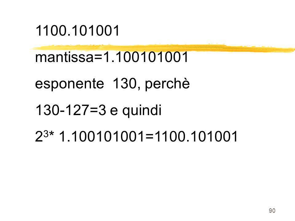 1100.101001 mantissa=1.100101001. esponente 130, perchè.