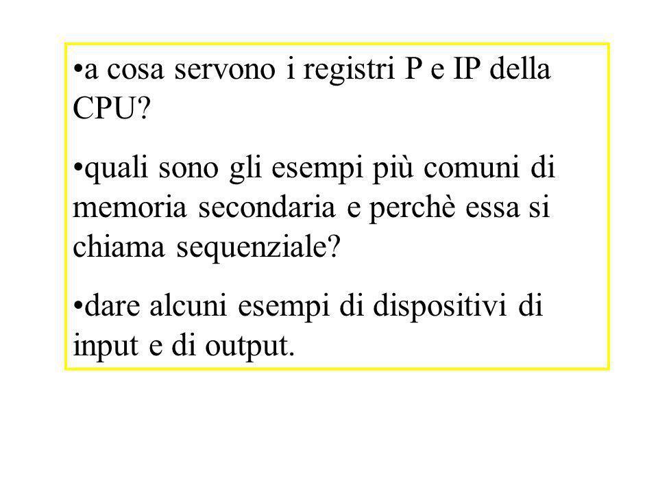 a cosa servono i registri P e IP della CPU
