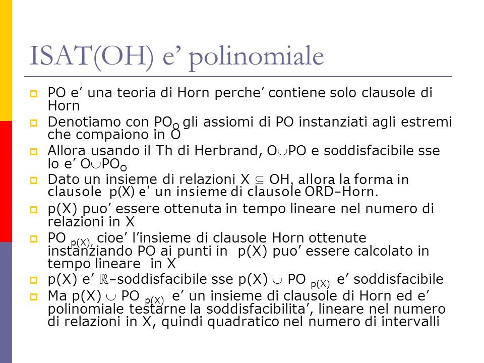 ISAT(OH) e' polinomiale