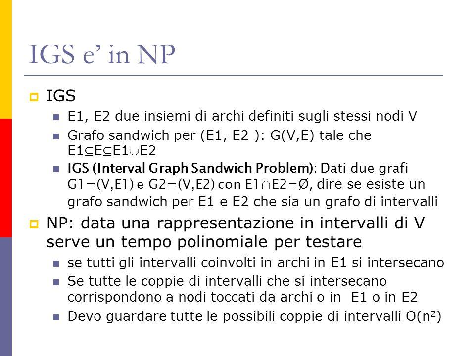 IGS e' in NP IGS. E1, E2 due insiemi di archi definiti sugli stessi nodi V. Grafo sandwich per (E1, E2 ): G(V,E) tale che E1⊆E⊆E1E2.