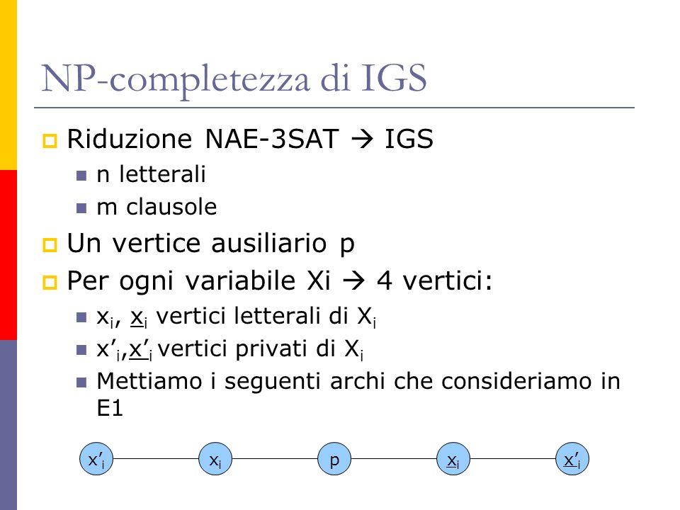 NP-completezza di IGS Riduzione NAE-3SAT  IGS Un vertice ausiliario p