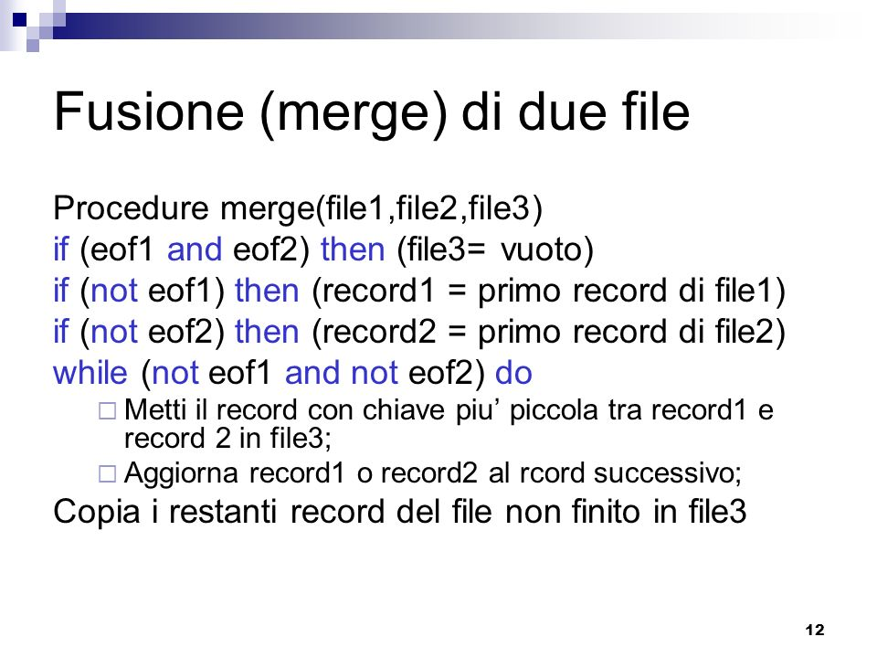 Fusione (merge) di due file