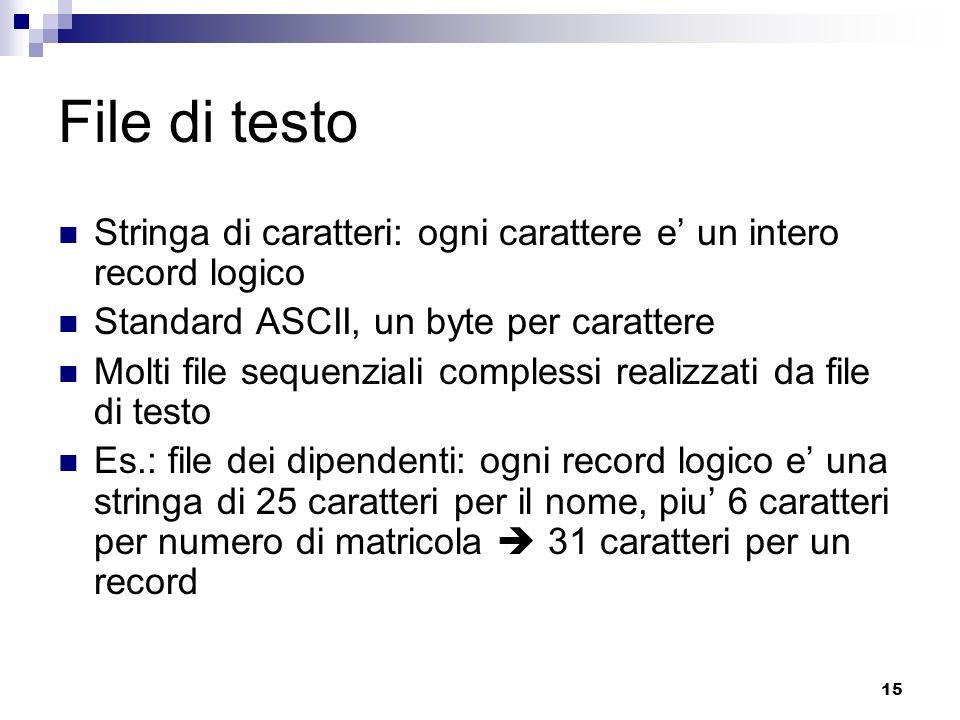 File di testo Stringa di caratteri: ogni carattere e' un intero record logico. Standard ASCII, un byte per carattere.