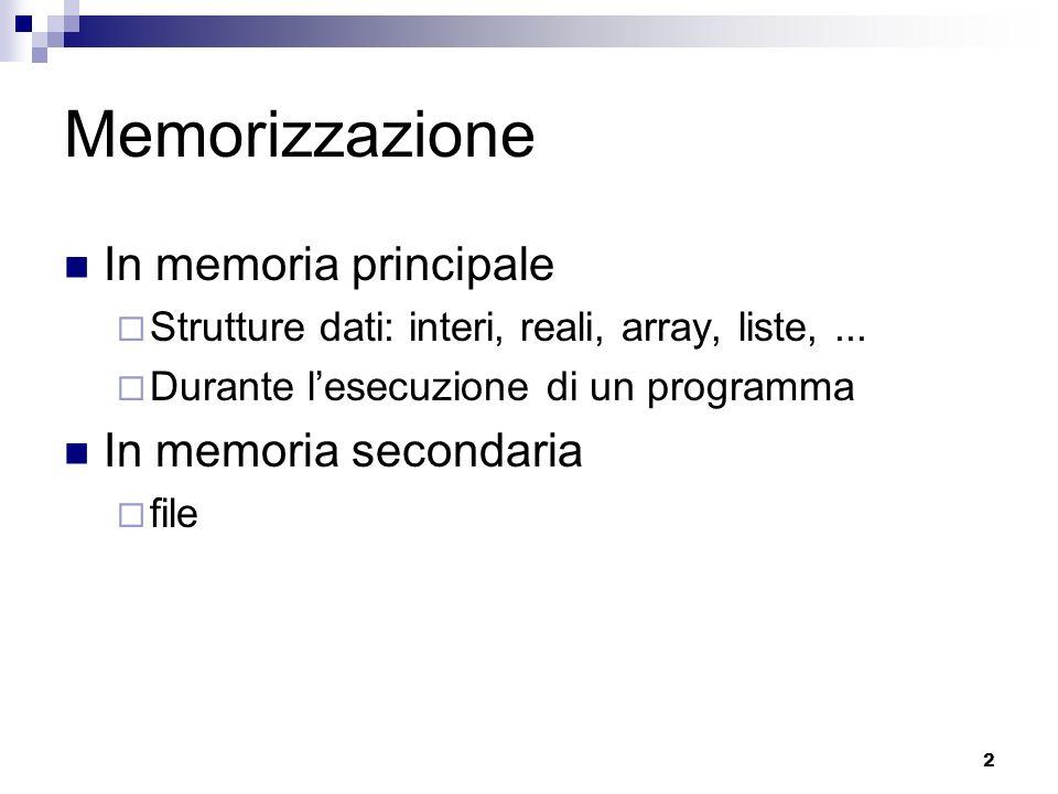 Memorizzazione In memoria principale In memoria secondaria