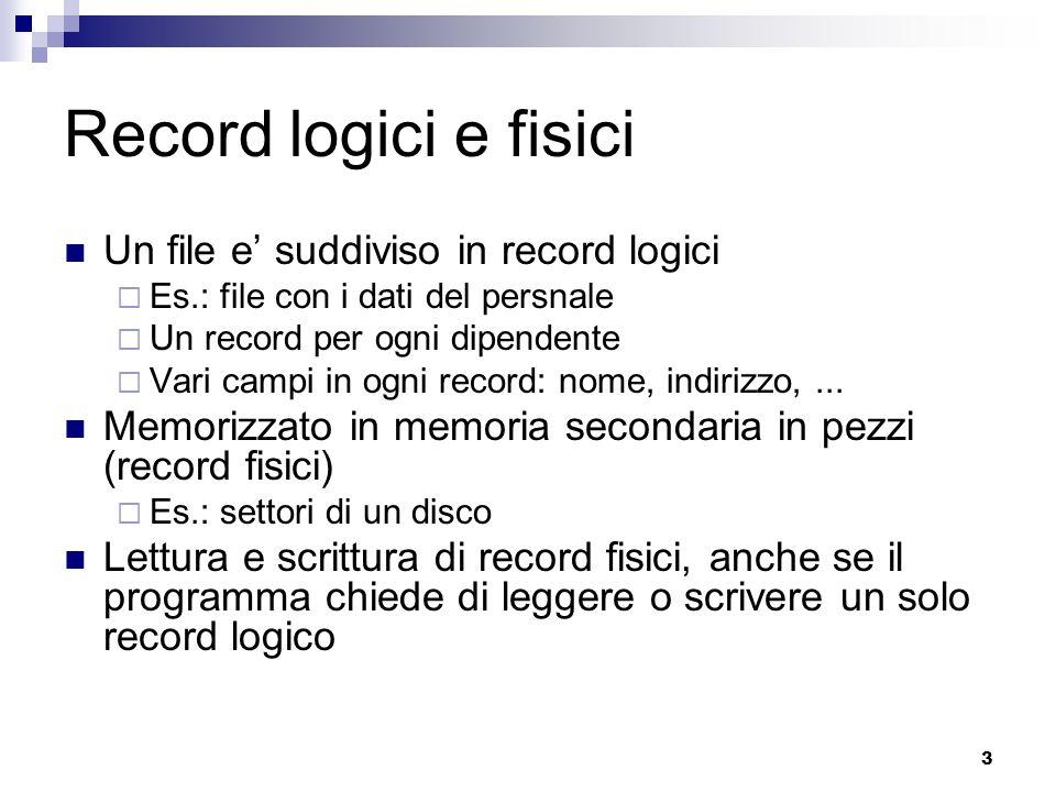 Record logici e fisici Un file e' suddiviso in record logici