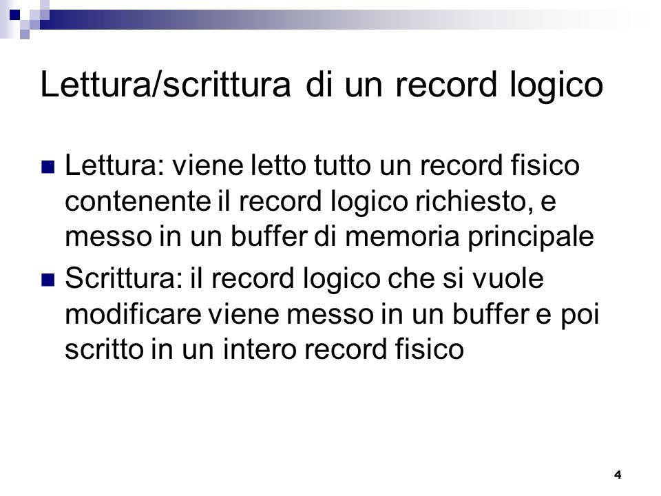 Lettura/scrittura di un record logico