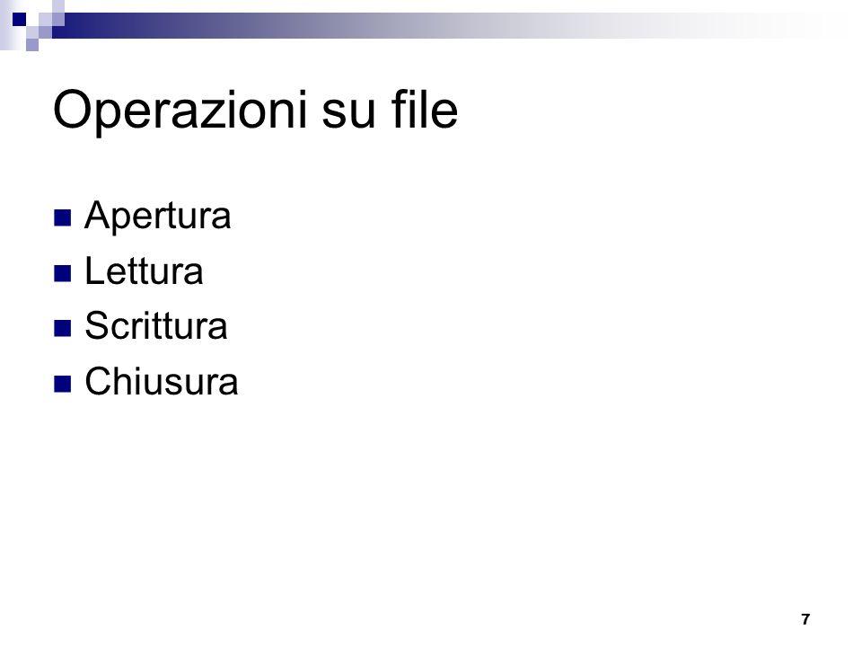 Operazioni su file Apertura Lettura Scrittura Chiusura