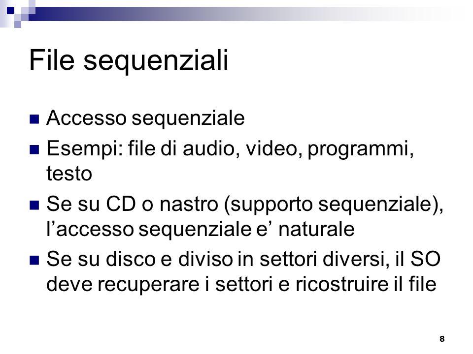 File sequenziali Accesso sequenziale