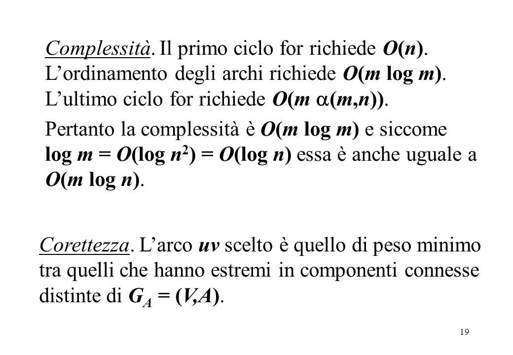 Complessità. Il primo ciclo for richiede O(n)