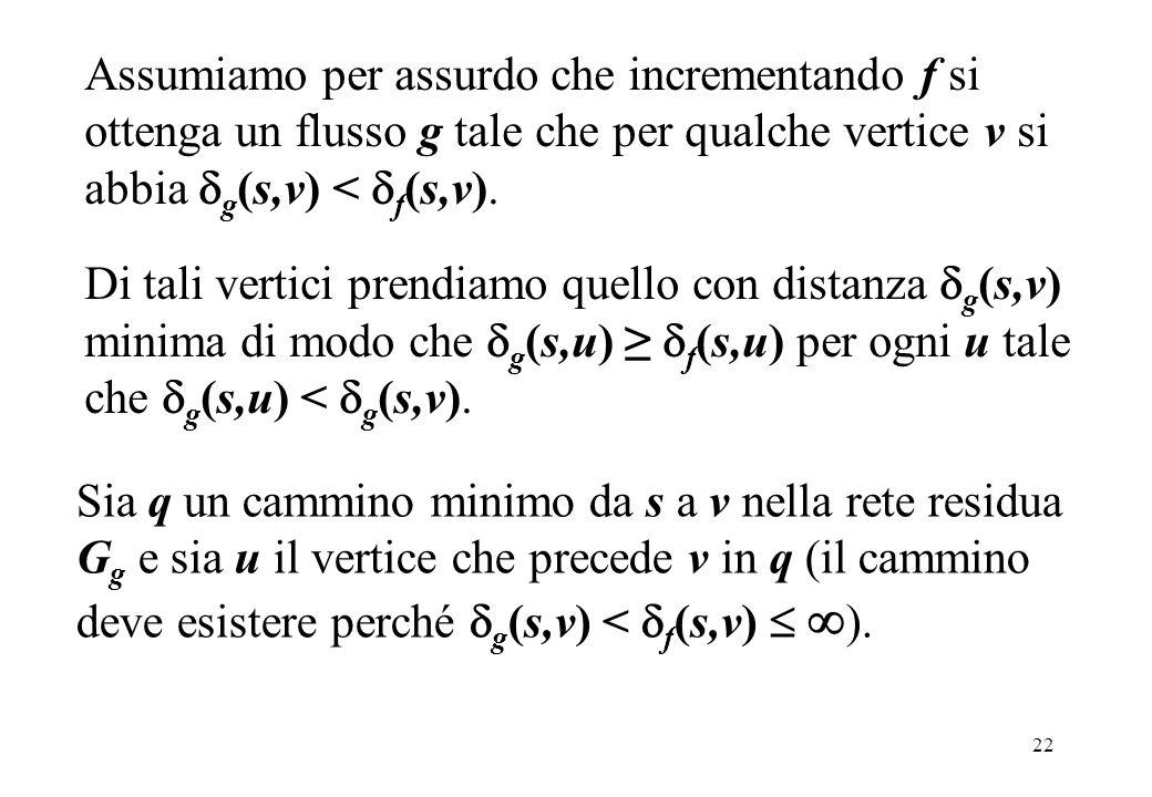 Assumiamo per assurdo che incrementando f si ottenga un flusso g tale che per qualche vertice v si abbia g(s,v) < f(s,v).