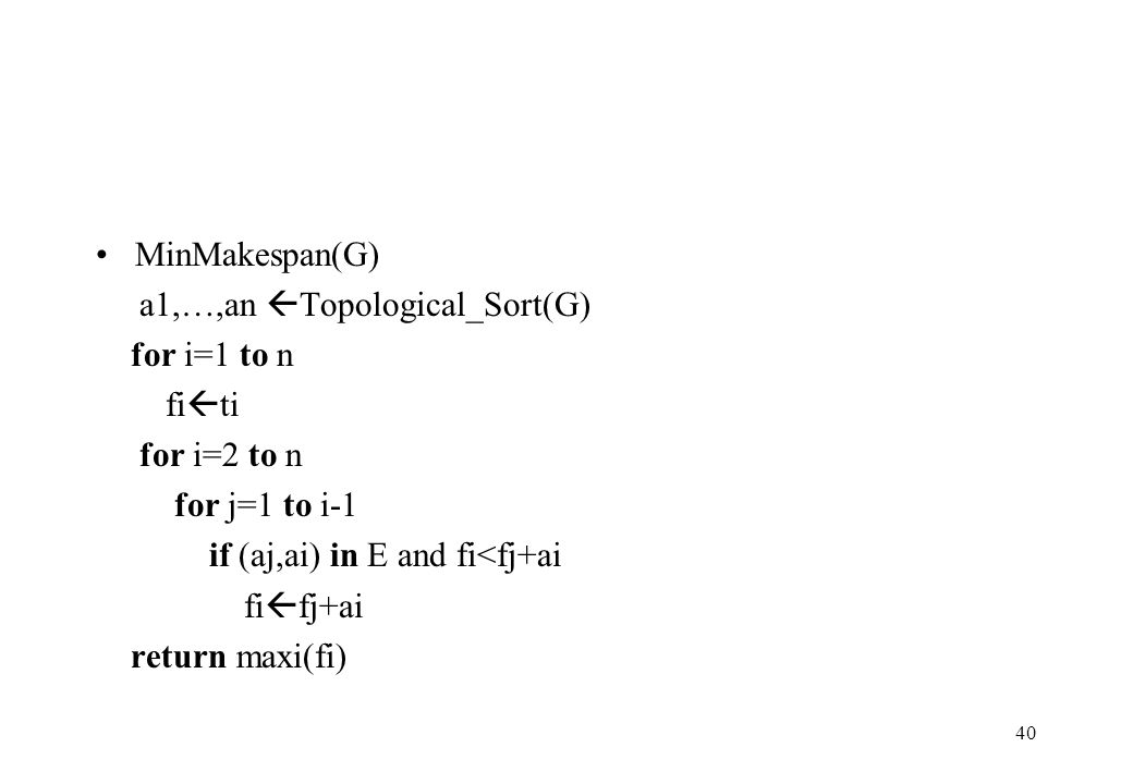 MinMakespan(G) a1,…,an Topological_Sort(G) for i=1 to n. fiti. for i=2 to n. for j=1 to i-1. if (aj,ai) in E and fi<fj+ai.