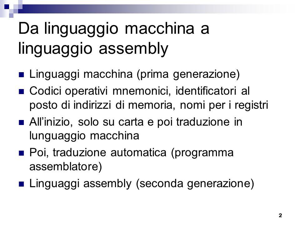 Da linguaggio macchina a linguaggio assembly