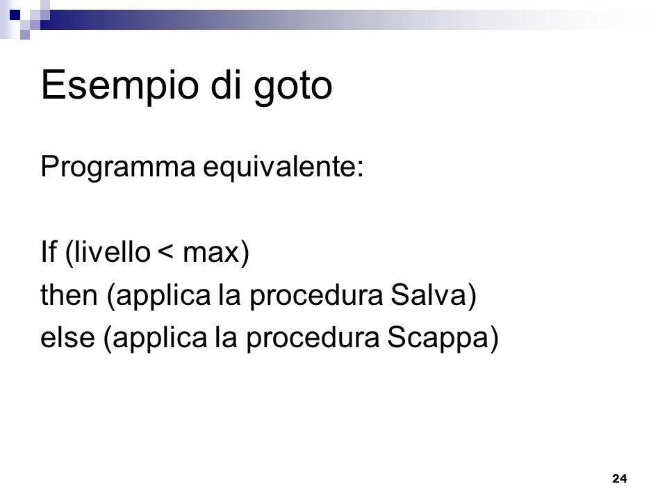 Esempio di goto Programma equivalente: If (livello < max)