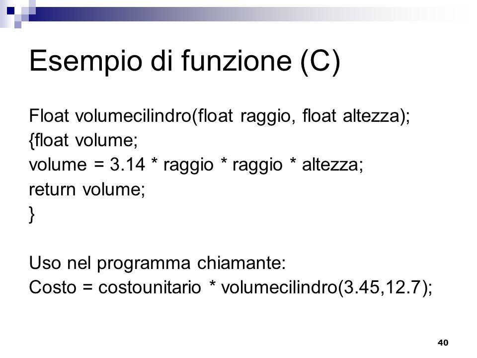 Esempio di funzione (C)
