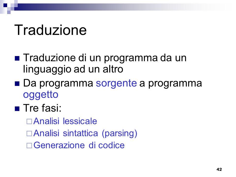 Traduzione Traduzione di un programma da un linguaggio ad un altro
