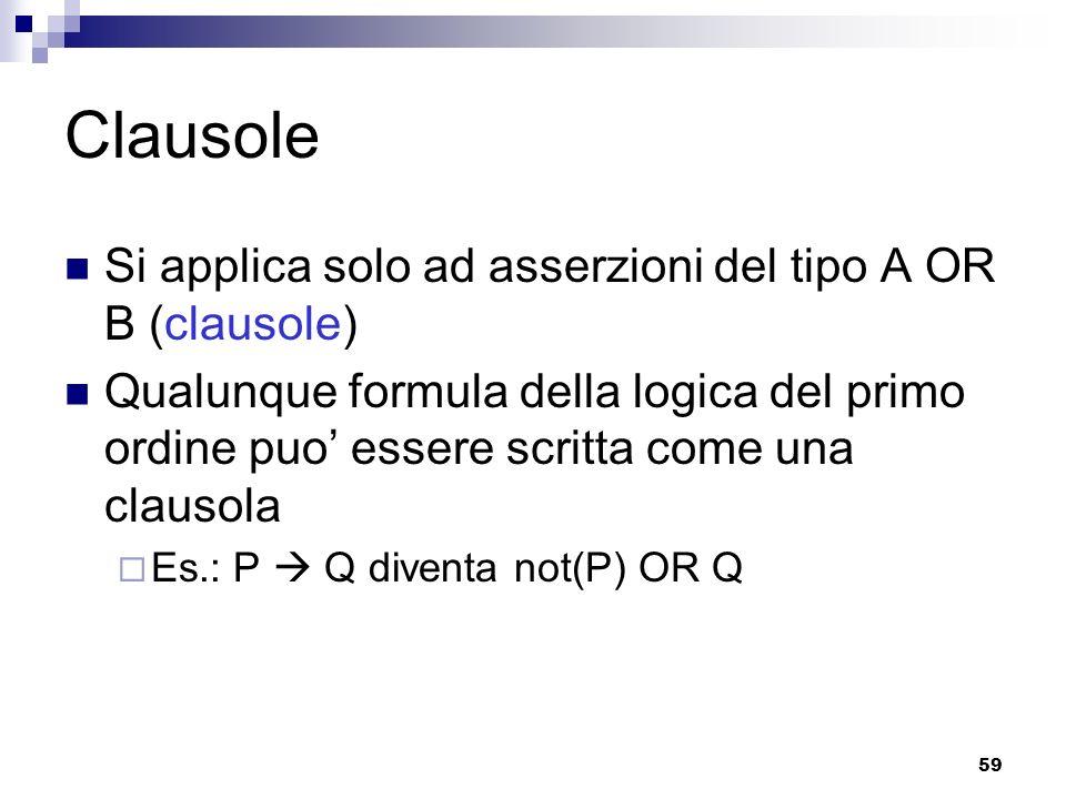 Clausole Si applica solo ad asserzioni del tipo A OR B (clausole)