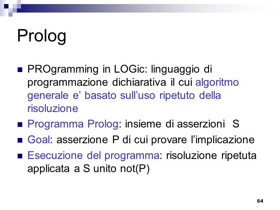 Prolog PROgramming in LOGic: linguaggio di programmazione dichiarativa il cui algoritmo generale e' basato sull'uso ripetuto della risoluzione.