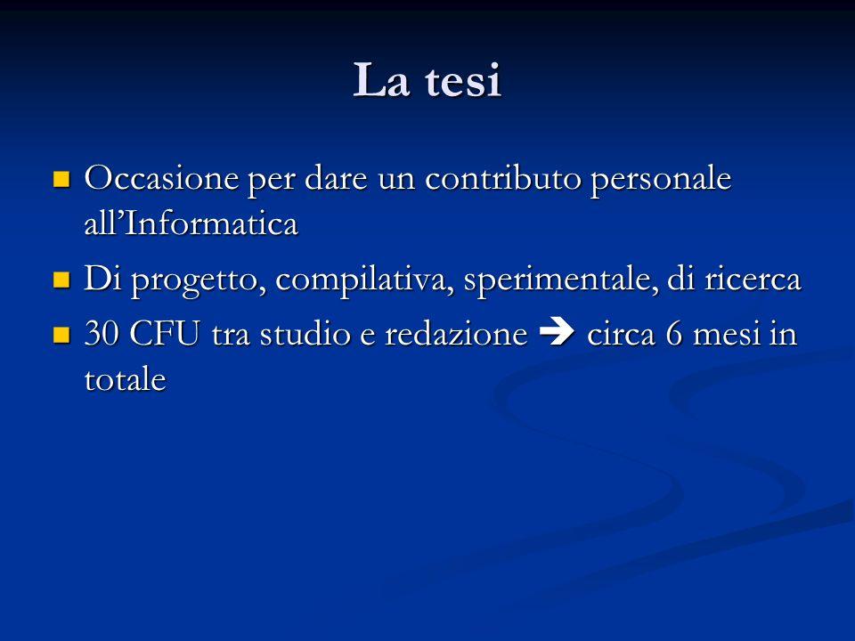 La tesi Occasione per dare un contributo personale all'Informatica