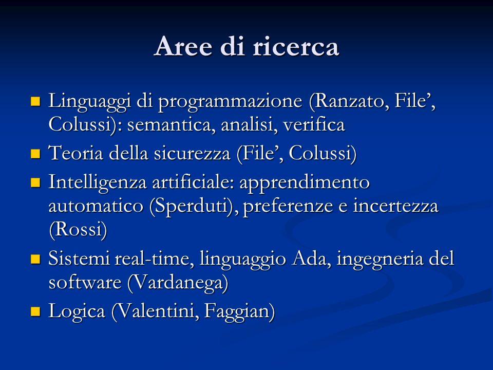 Aree di ricerca Linguaggi di programmazione (Ranzato, File', Colussi): semantica, analisi, verifica.