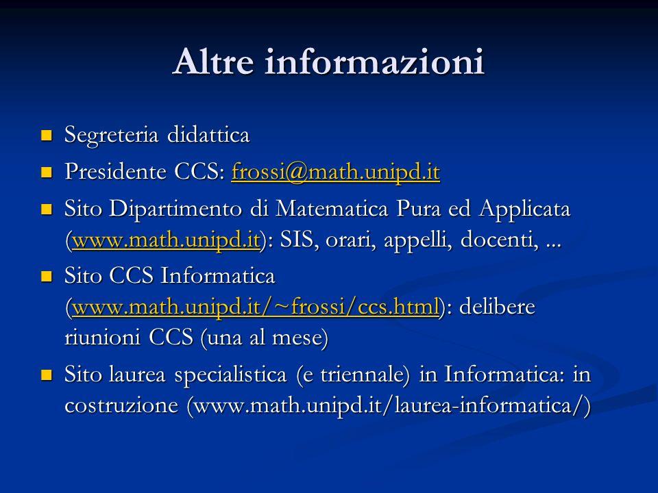 Altre informazioni Segreteria didattica