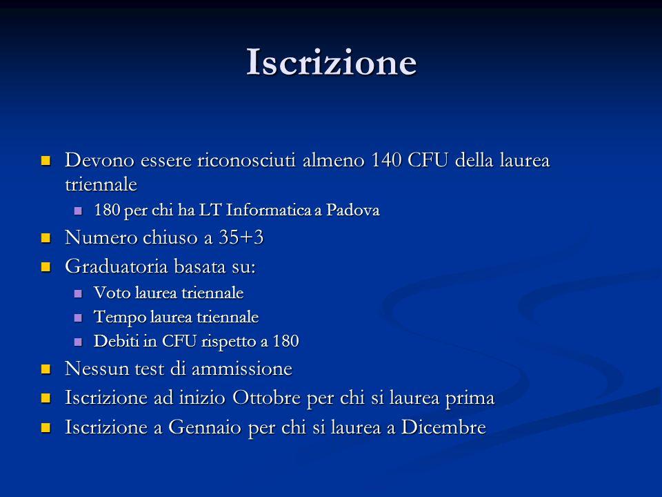 Iscrizione Devono essere riconosciuti almeno 140 CFU della laurea triennale. 180 per chi ha LT Informatica a Padova.