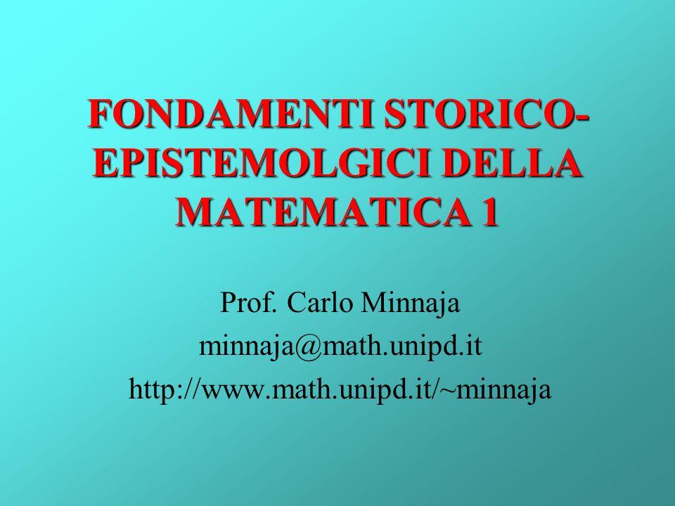 FONDAMENTI STORICO-EPISTEMOLGICI DELLA MATEMATICA 1