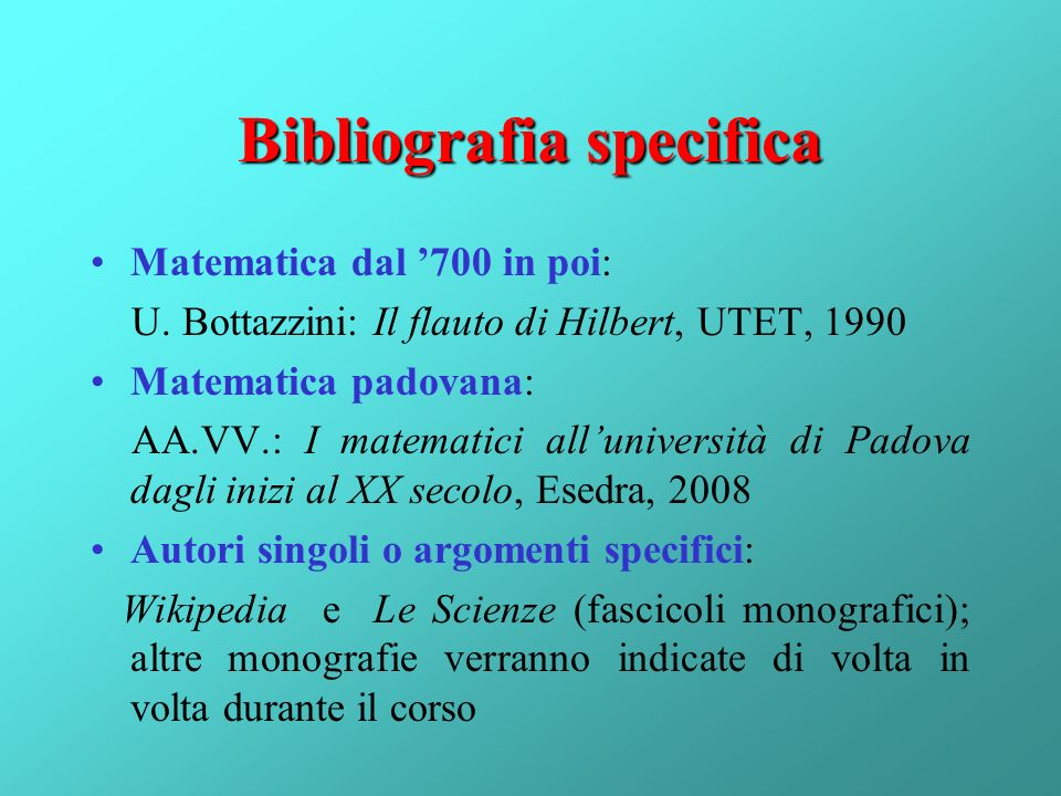 Bibliografia specifica