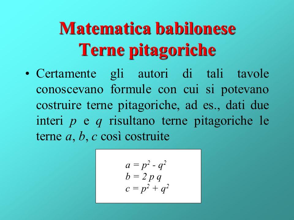 Matematica babilonese Terne pitagoriche