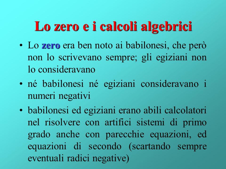 Lo zero e i calcoli algebrici